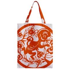Chinese Zodiac Horoscope Monkey Star Orange Zipper Classic Tote Bag