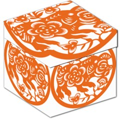 Chinese Zodiac Horoscope Pig Star Orange Storage Stool 12