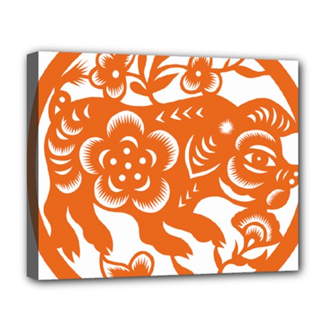 Chinese Zodiac Horoscope Pig Star Orange Deluxe Canvas 20  x 16