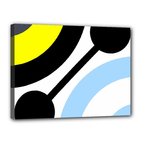 Circle Line Chevron Wave Black Blue Yellow Gray White Canvas 16  x 12