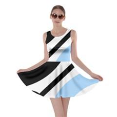Circle Line Chevron Wave Black Blue Yellow Gray White Skater Dress