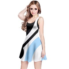 Circle Line Chevron Wave Black Blue Yellow Gray White Reversible Sleeveless Dress
