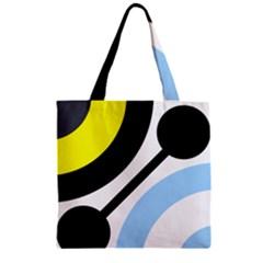 Circle Line Chevron Wave Black Blue Yellow Gray White Zipper Grocery Tote Bag