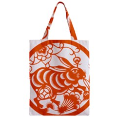 Chinese Zodiac Horoscope Rabbit Star Orange Zipper Classic Tote Bag