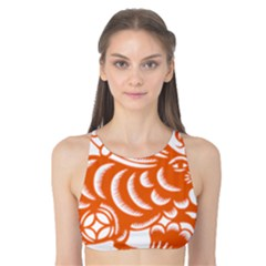 Chinese Zodiac Horoscope Rabbit Star Orange Tank Bikini Top