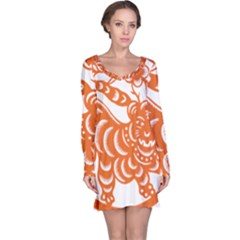 Chinese Zodiac Signs Tiger Star Orangehoroscope Long Sleeve Nightdress