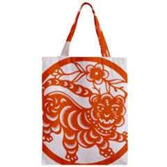 Chinese Zodiac Signs Tiger Star Orangehoroscope Zipper Classic Tote Bag