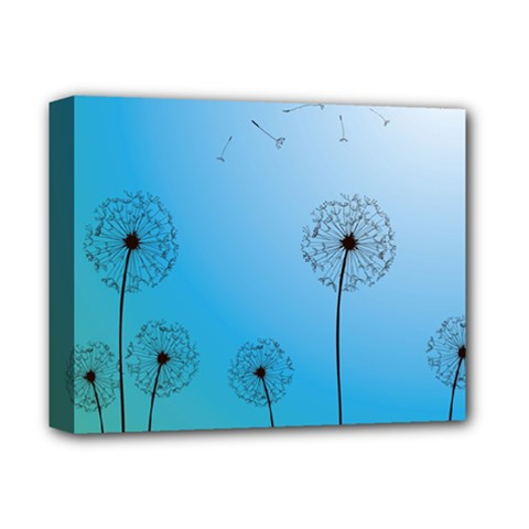 Flower Back Blue Green Sun Fly Deluxe Canvas 14  x 11