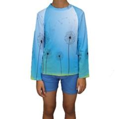 Flower Back Blue Green Sun Fly Kids  Long Sleeve Swimwear