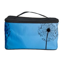Flower Back Blue Green Sun Fly Cosmetic Storage Case
