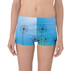 Flower Back Blue Green Sun Fly Boyleg Bikini Bottoms