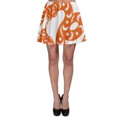 Chinese Zodiac Horoscope Snake Star Orange Skater Skirt
