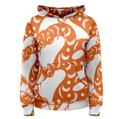 Chinese Zodiac Horoscope Snake Star Orange Women s Pullover Hoodie