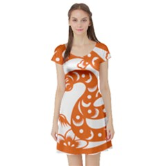 Chinese Zodiac Horoscope Snake Star Orange Short Sleeve Skater Dress