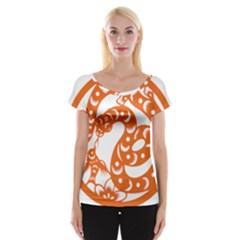 Chinese Zodiac Horoscope Snake Star Orange Women s Cap Sleeve Top