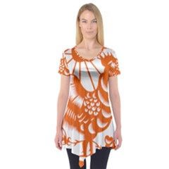 Chinese Zodiac Horoscope Zhen Icon Star Orangechicken Short Sleeve Tunic
