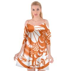Chinese Zodiac Horoscope Zhen Icon Star Orangechicken Cutout Spaghetti Strap Chiffon Dress