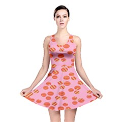 Distance Absence Sea Holes Polka Dot Line Circle Orange Chevron Wave Reversible Skater Dress