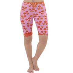 Distance Absence Sea Holes Polka Dot Line Circle Orange Chevron Wave Cropped Leggings