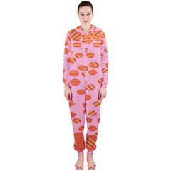 Distance Absence Sea Holes Polka Dot Line Circle Orange Chevron Wave Hooded Jumpsuit (Ladies)