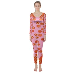 Distance Absence Sea Holes Polka Dot Line Circle Orange Chevron Wave Long Sleeve Catsuit