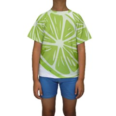 Gerald Lime Green Kids  Short Sleeve Swimwear