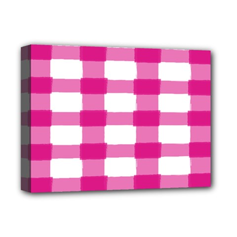 Hot Pink Brush Stroke Plaid Tech White Deluxe Canvas 16  x 12