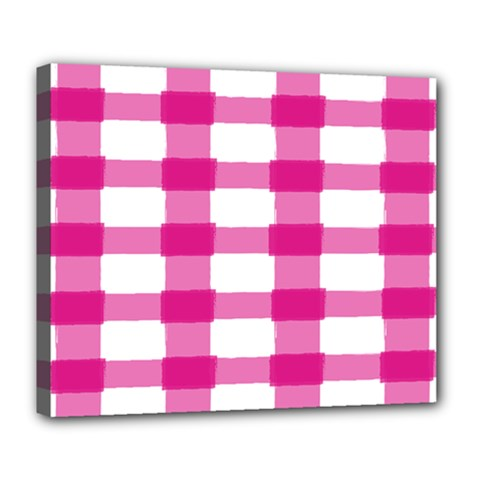 Hot Pink Brush Stroke Plaid Tech White Deluxe Canvas 24  x 20