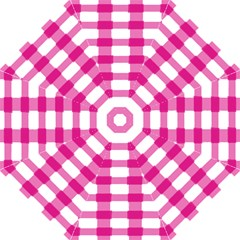 Hot Pink Brush Stroke Plaid Tech White Golf Umbrellas