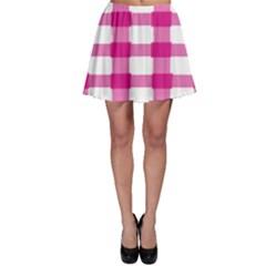 Hot Pink Brush Stroke Plaid Tech White Skater Skirt