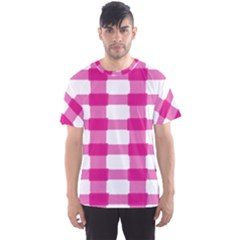 Hot Pink Brush Stroke Plaid Tech White Men s Sport Mesh Tee