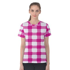 Hot Pink Brush Stroke Plaid Tech White Women s Cotton Tee
