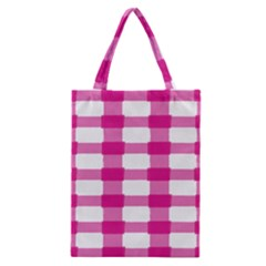Hot Pink Brush Stroke Plaid Tech White Classic Tote Bag