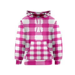 Hot Pink Brush Stroke Plaid Tech White Kids  Pullover Hoodie
