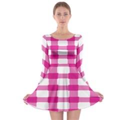 Hot Pink Brush Stroke Plaid Tech White Long Sleeve Skater Dress