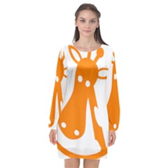Giraffe Animals Face Orange Long Sleeve Chiffon Shift Dress