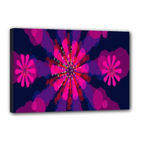 Flower Red Pink Purple Star Sunflower Canvas 18  x 12