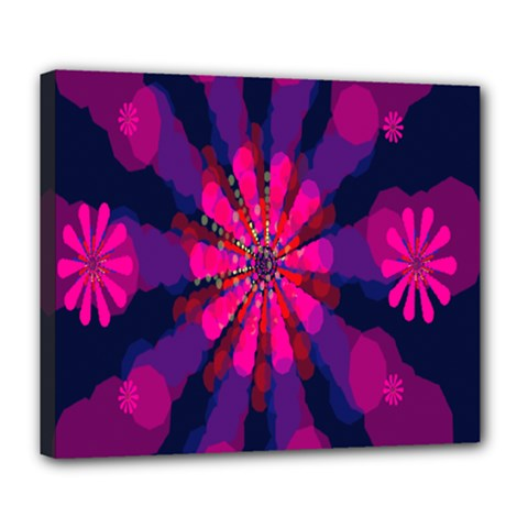 Flower Red Pink Purple Star Sunflower Deluxe Canvas 24  x 20