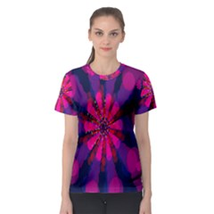 Flower Red Pink Purple Star Sunflower Women s Sport Mesh Tee