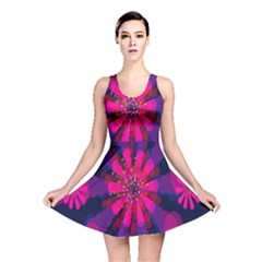 Flower Red Pink Purple Star Sunflower Reversible Skater Dress