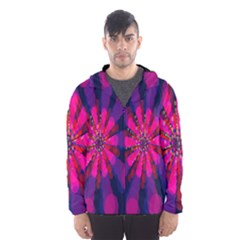 Flower Red Pink Purple Star Sunflower Hooded Wind Breaker (Men)
