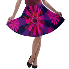 Flower Red Pink Purple Star Sunflower A-line Skater Skirt