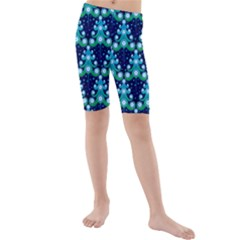 Christmas Tree Snow Green Blue Kids  Mid Length Swim Shorts