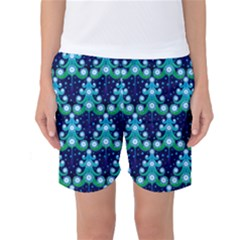 Christmas Tree Snow Green Blue Women s Basketball Shorts