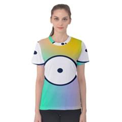 Illustrated Circle Round Polka Rainbow Women s Cotton Tee