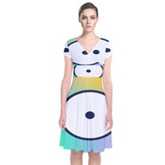 Illustrated Circle Round Polka Rainbow Short Sleeve Front Wrap Dress