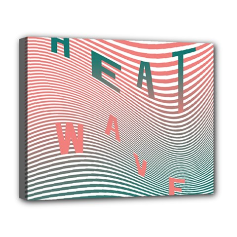 Heat Wave Chevron Waves Red Green Deluxe Canvas 20  x 16
