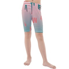 Heat Wave Chevron Waves Red Green Kids  Mid Length Swim Shorts