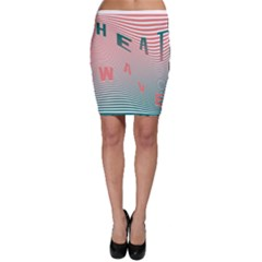 Heat Wave Chevron Waves Red Green Bodycon Skirt