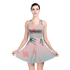 Heat Wave Chevron Waves Red Green Reversible Skater Dress